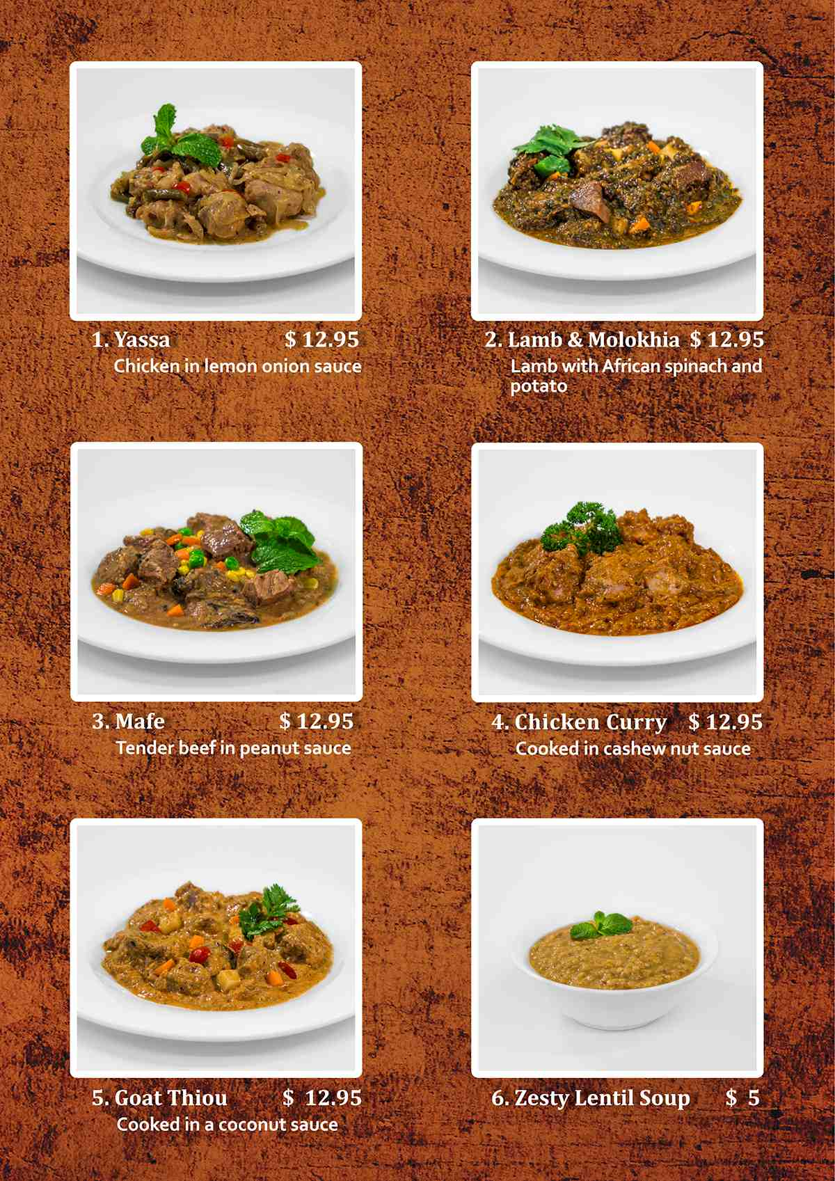 African Village Kitchen Menu page 2